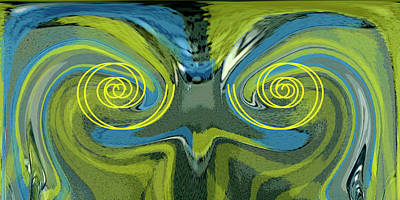 Digital Art - Abstract Owl Portrait by Ben and Raisa Gertsberg