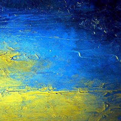 Modern Painting - Abstract Blue And Yellow Diptych Sirius II by Holly Anderson