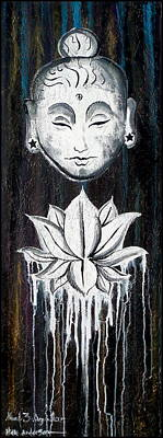 Large Buddha Painting - abstract painting large vertical original Buddha with Lotus Flower Chakra Art EMERGE by Chakra Art