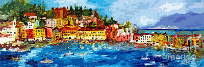 Abstract Panoramic Italian Seascape Sestri Levante Liguria Art Print by Ginette Callaway