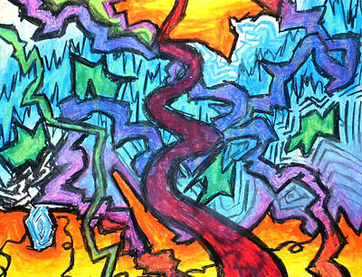 Abstract Design Drawing - Abstract Paths by Jera Sky
