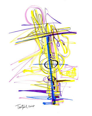 Keith Richards - Abstract Pen Drawing Seventy-Two by Lynne Taetzsch