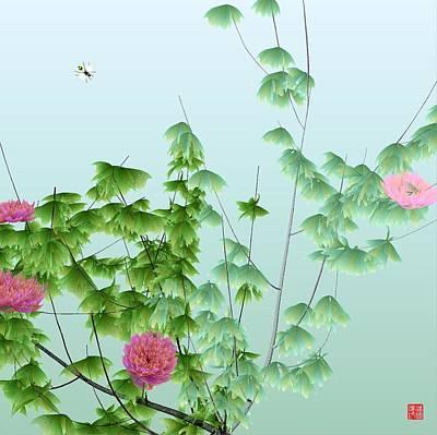 Abstract Peony Wasp Art Print by GuoJun Pan