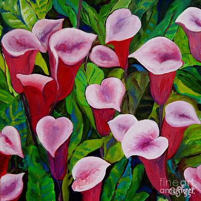 Arum Lily Painting - Abstract Pink Calla Lily by Caroline Street