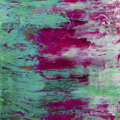 Abstract Beach Landscape Digital Art - Abstract Pink Green Landscape by Arelys Jimenez