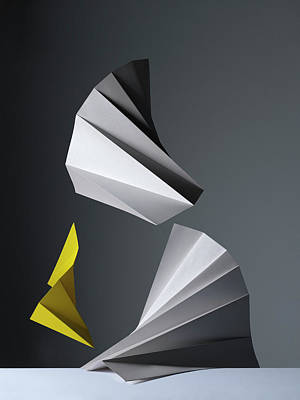 Yellow Photograph - Abstract Pleated Paper Composition by Sophie Broadbridge