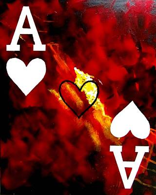 Painting - Abstract Poker Aces Hearts by Teo Alfonso