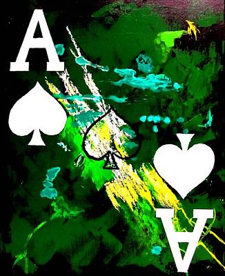 Painting - Abstract Poker Aces Spades by Teo Alfonso