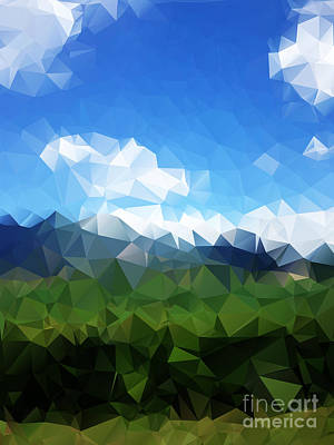 Olives Wall Art - Digital Art - Abstract Polygonal Landscape Background by Daria Iva