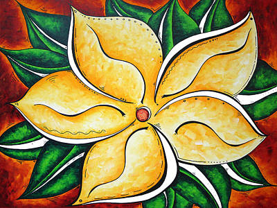 Abstract Pop Art Yellow Plumeria Flower Tropical Passion By Madart Art Print by Megan Duncanson