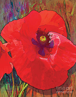 Red Abstract Painting - Abstract Poppy A by Grace Pullen