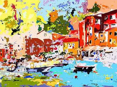 Portofino Italy Painting - Abstract Portofino Italy by Ginette Callaway