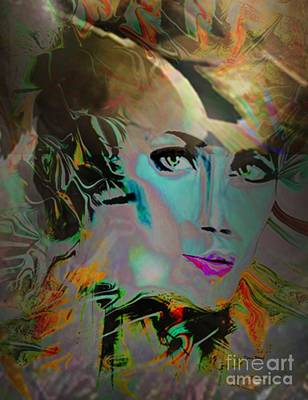 Digital Art - Abstract Portrait Of A Blue Lady by Doris Wood