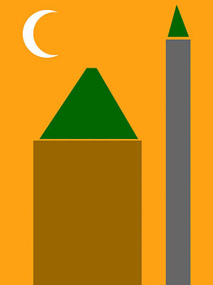 Drawing - Abstract Poster - The Mosque Minaret And Crescent by Celestial Images