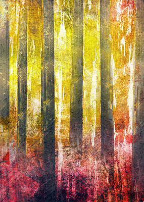 Abstract Seascape Digital Art - Abstract Print 29 Trees by Filippo B