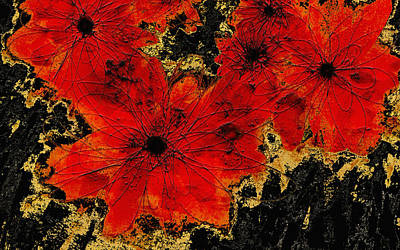 Nature Abstract Digital Art - Abstract Red Flower Art  by Ann Powell