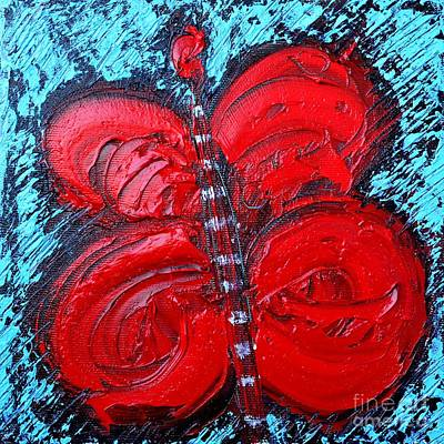 Abstract Red Happy Butterfly Original