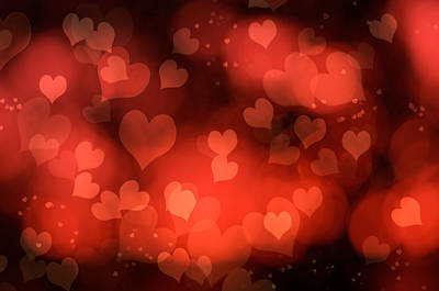 Design Element Photograph - Abstract Red Hearts by Amanda Elwell