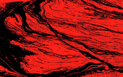 Photograph - Abstract Red Marbled Pattern by Ikon Images
