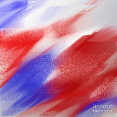 Andee Design Red Digital Art - Abstract Red White And Blue 1 Square by Andee Design