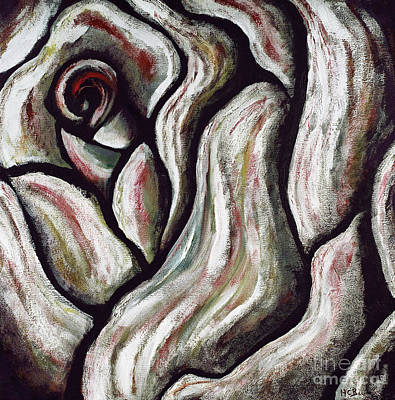 Painting - Abstract Rose Flower Beautiful Black White Red Artwork Decoration Art Print For Sales by Marie Christine Belkadi