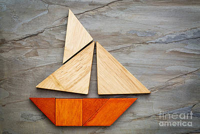 Abstract Sailboat From Tangram Puzzle Art Print