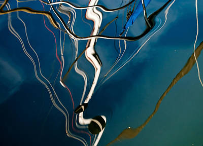 Photograph - Abstract Sailboat Mast Reflection by Jani Freimann