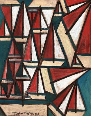 Painting - Tommervik Abstract Sailboats Art Print by Tommervik