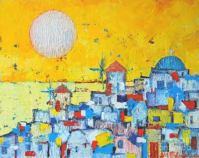 Blue And Red Painting - Abstract Santorini - Oia Before Sunset by Ana Maria Edulescu