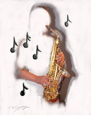 Abstract Saxophone Player Art Print by Tom Conway