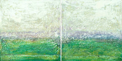 Sun Rays Digital Art - Abstract Scape 12 Diptych by Filippo B