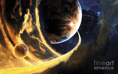 Digital Art - Abstract Science Fiction Scene Showing by Tobias Roetsch