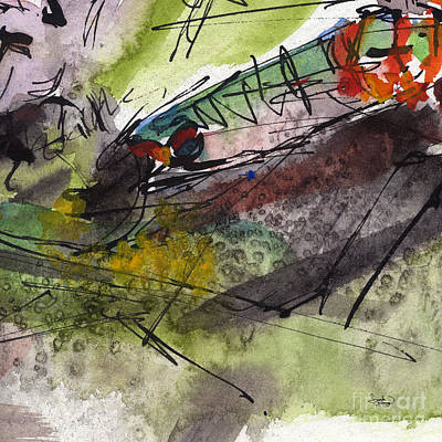 Watercolor And Ink Painting - Abstract Screams Of A Dying Fish  by Ginette Callaway