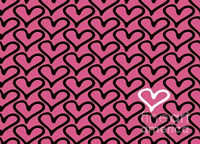 Element Wall Art - Digital Art - Abstract Seamless Heart Pattern by Ann Volosevich