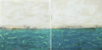 Abstract Seascape 02/14 Diptych Art Print by Filippo B