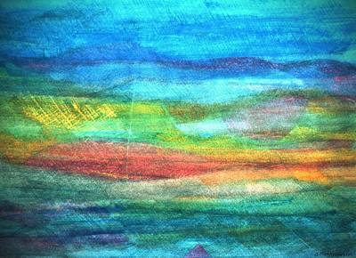 Colored Pencil Abstract Mixed Media - Abstract Seascape 3 by Dimitra Papageorgiou
