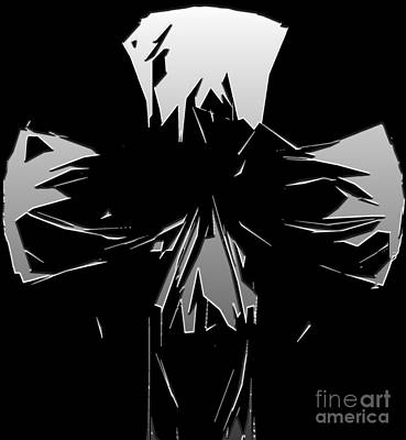 Abstract Skull Or Face Design Gray On Black Art Print by Minding My Visions by Adri and Ray
