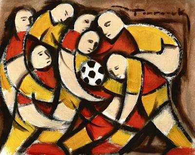 Painting - Abstract Soccer Players Art Print by Tommervik