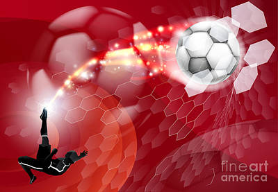 Abstract Soccer Sport Background Art Print by Christos Georghiou