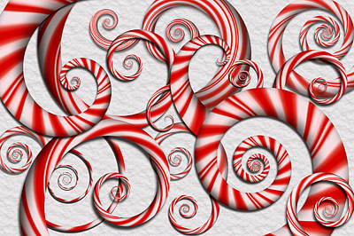 Mint Digital Art - Abstract - Spirals - Peppermint Dreams by Mike Savad