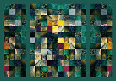 Abstract Squares Triptych Gentle Green Art Print