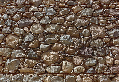 Photograph - abstract stone wall photograph - Rough Stones by Sharon Hudson