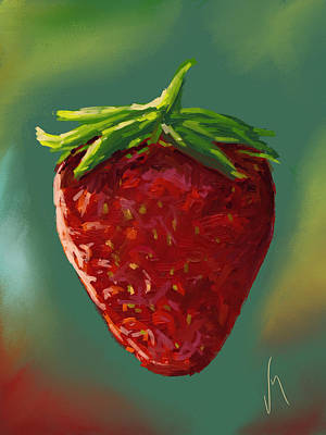 Macro Painting - Abstract Strawberry by Veronica Minozzi