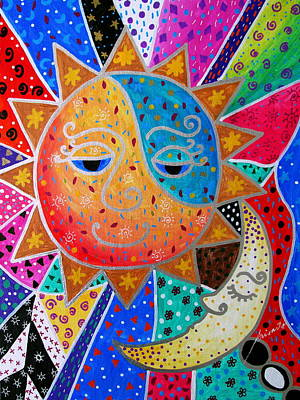 Painting - Abstract Sun And Moon by Pristine Cartera Turkus