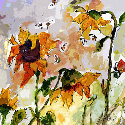 Abstract Sunflowers And Bees Provence Art Print