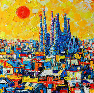 Blue And Red Painting - Abstract Sunset Over Sagrada Familia In Barcelona by Ana Maria Edulescu