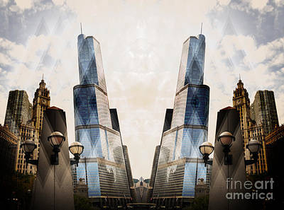 Photograph - Abstract Surreal Chicago Michigan Avenue by Linda Matlow