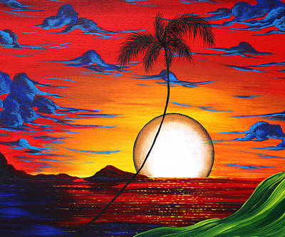 Abstract Surreal Tropical Coastal Art Original Painting Tropical Resonance By Madart Art Print by Megan Duncanson
