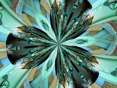 Abstract - Teal - Aqua - Four Art Print
