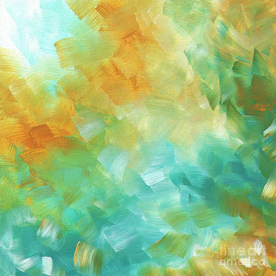 Abstract Textured Decorative Art Original Painting Gold And Teal By Madart Art Print by Megan Duncanson